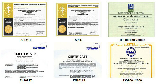 Q345 seamless steel pipe & tube Certifications